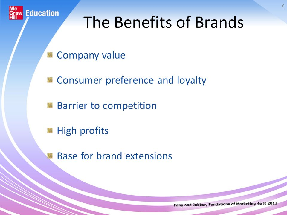 6 The Benefits of Brands Company value Consumer preference and loyalty Barrier to competition High profits Base for brand extensions