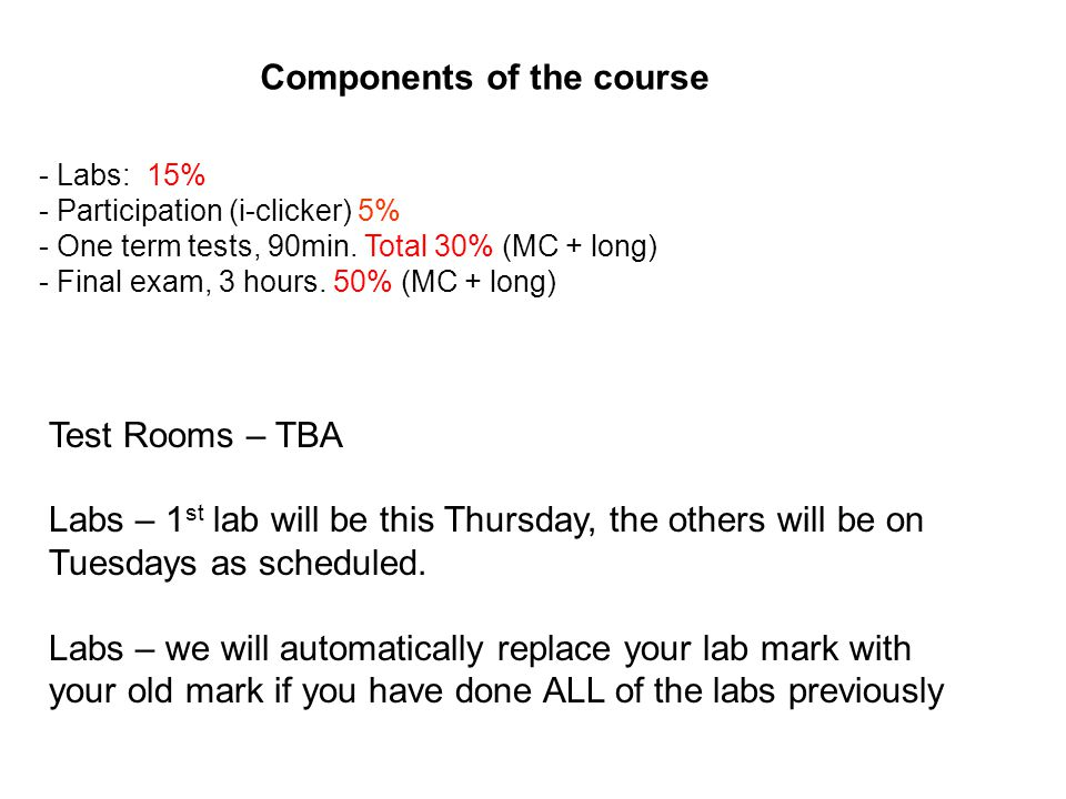 Components of the course - Labs: 15% - Participation (i-clicker) 5% - One term tests, 90min. Total 30% (MC + long) - Final exam, 3 hours. 50% (MC + lo