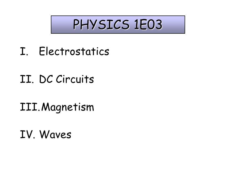 PHYSICS 1E03 I.Electrostatics II.DC Circuits III.Magnetism IV.Waves