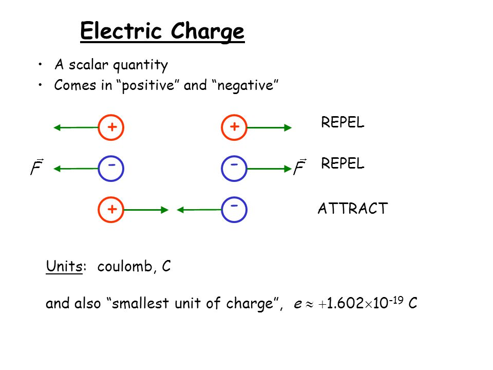 Electric Charge (continued) Net charge is a conserved quantity: that is, the algebraic sum of positive and negative charges is constant.