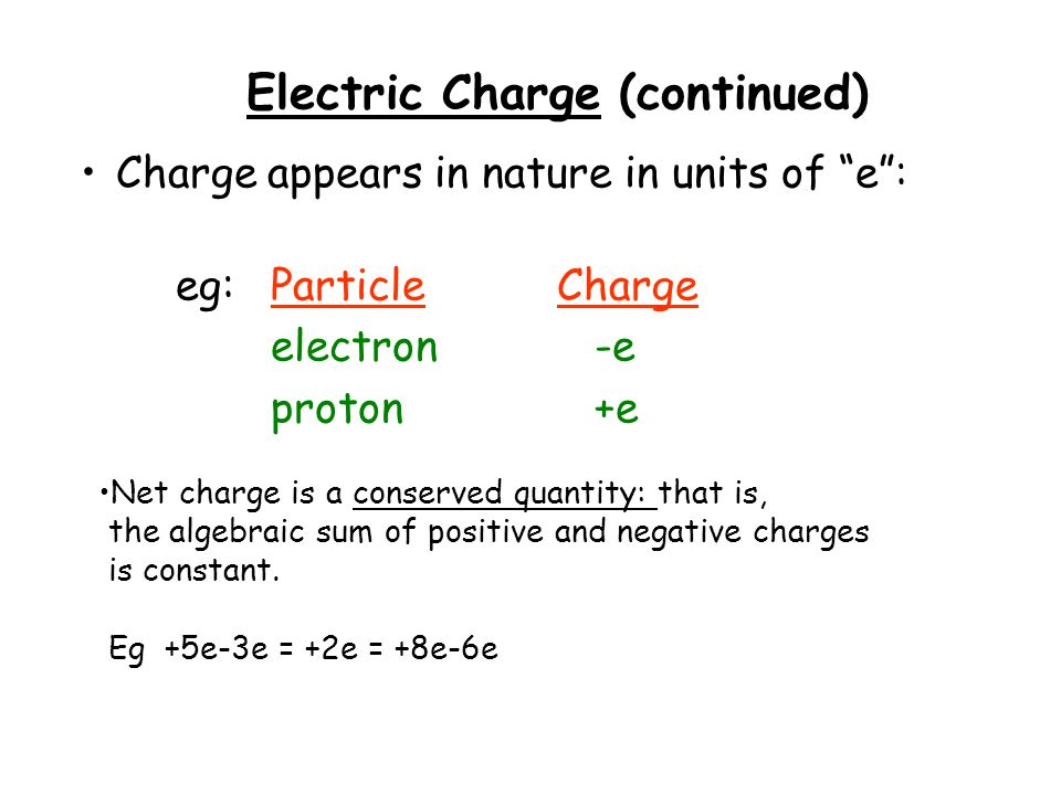 Electric Charge (continued) Net charge is a conserved quantity: that is, the algebraic sum of positive and negative charges is constant. Eg +5e-3e = +