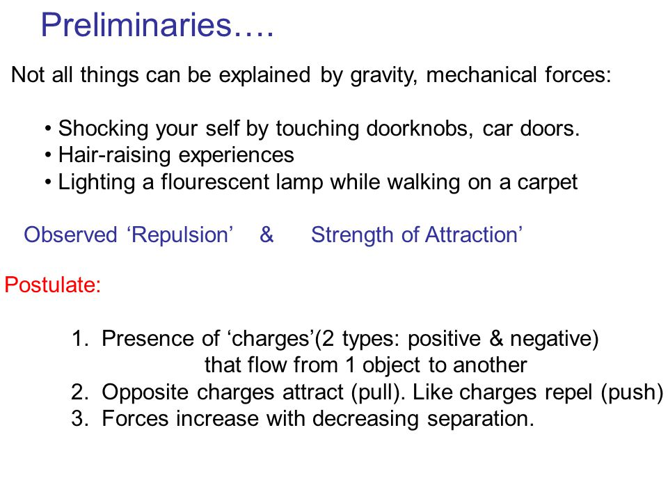 Preliminaries…. Not all things can be explained by gravity, mechanical forces: Shocking your self by touching doorknobs, car doors. Hair-raising exper