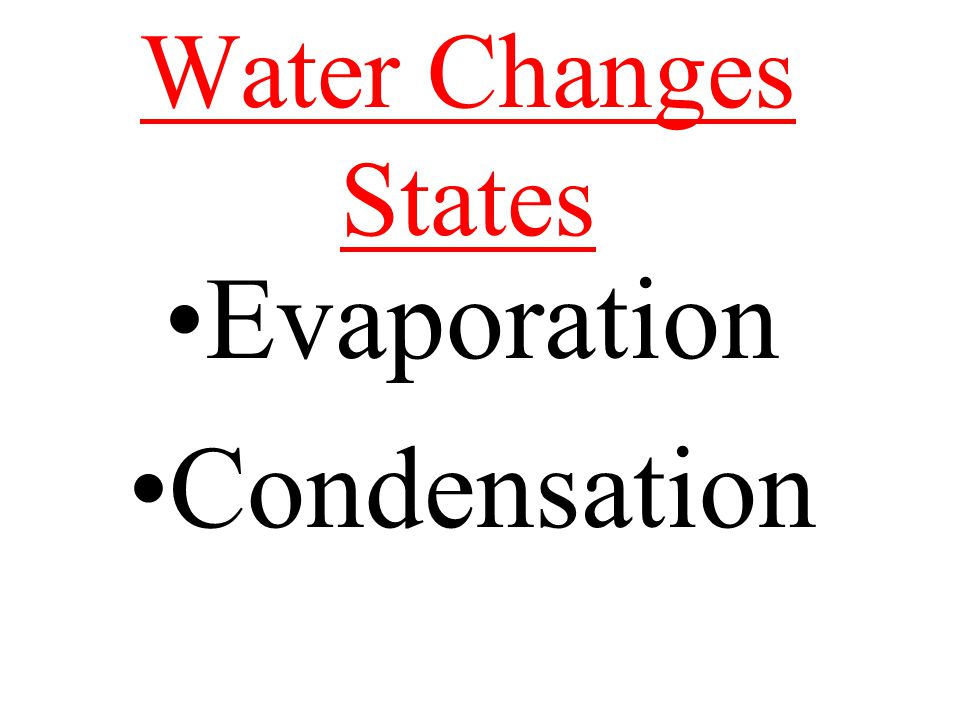Water Changes States Evaporation Condensation