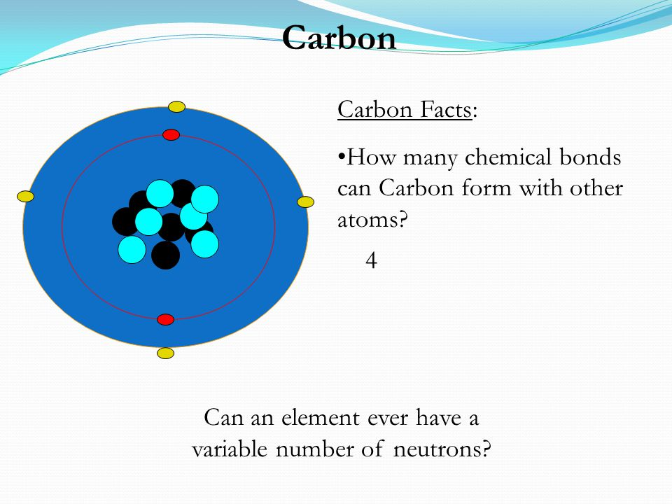 Carbon Carbon Facts: How many chemical bonds can Carbon form with other atoms? 4 Can an element ever have a variable number of neutrons?