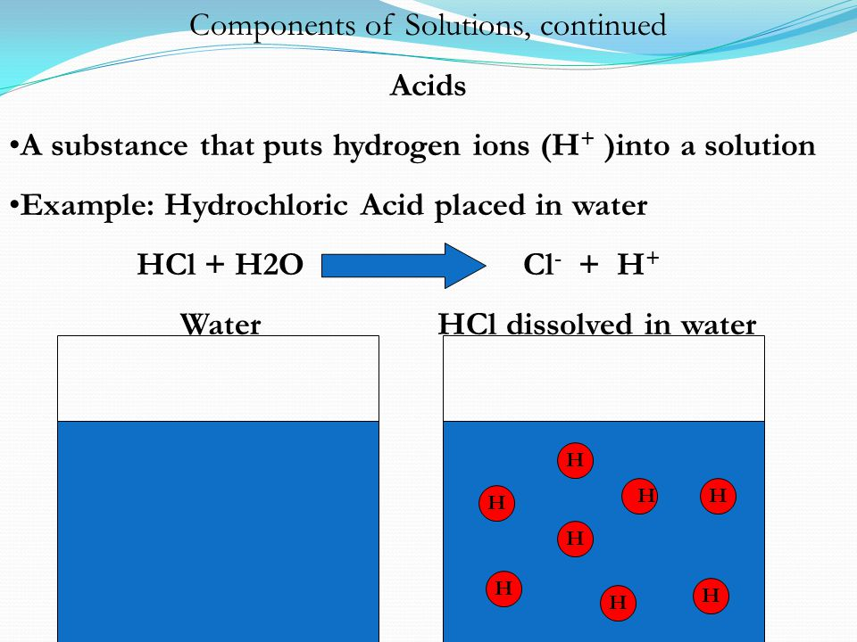 Components of Solutions, continued Acids A substance that puts hydrogen ions (H + )into a solution Example: Hydrochloric Acid placed in water HCl + H2