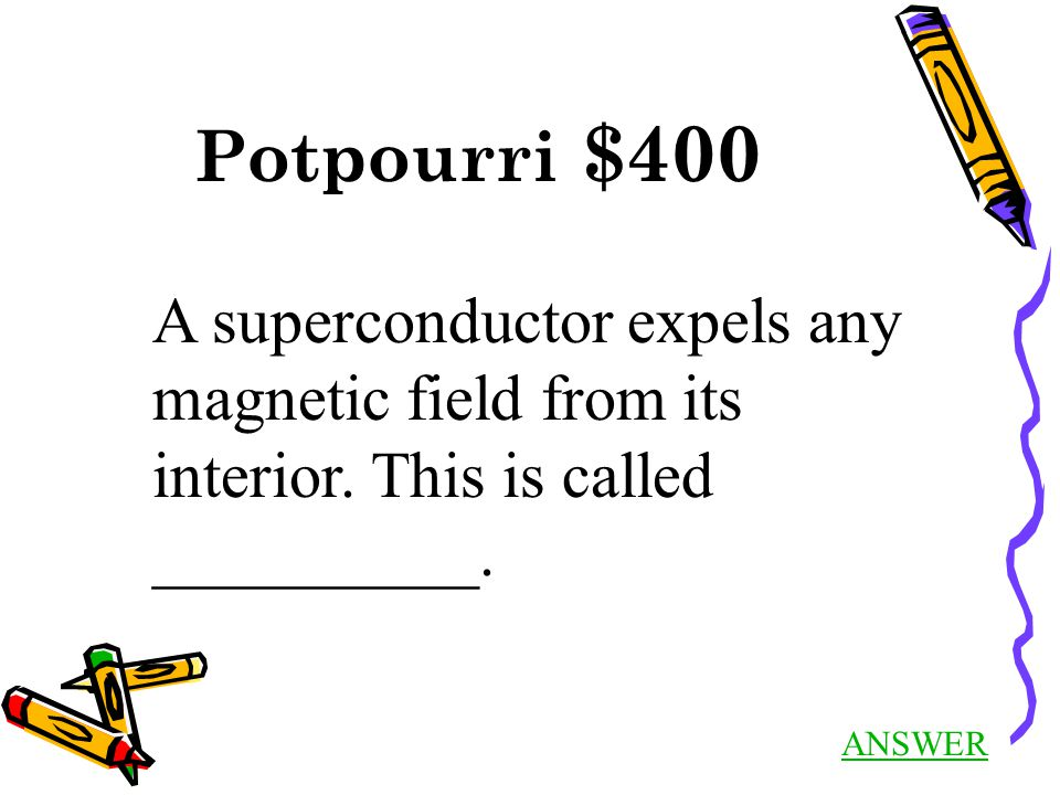 Potpourri $400 ANSWER A superconductor expels any magnetic field from its interior.