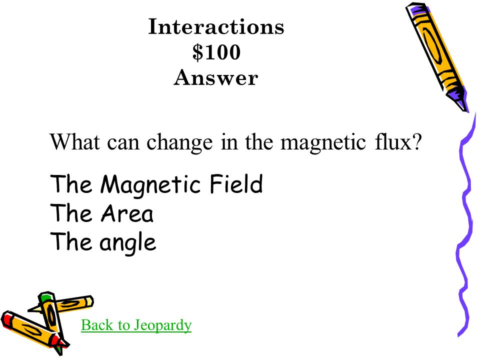 Interactions $100 Answer Back to Jeopardy What can change in the magnetic flux.