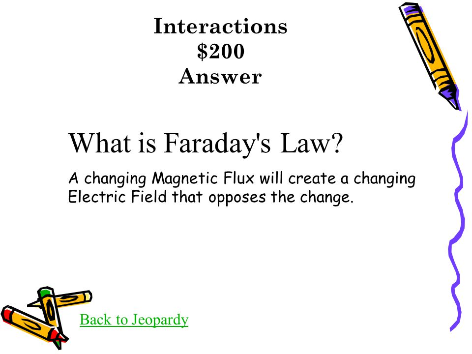 Interactions $200 Answer Back to Jeopardy What is Faraday s Law.