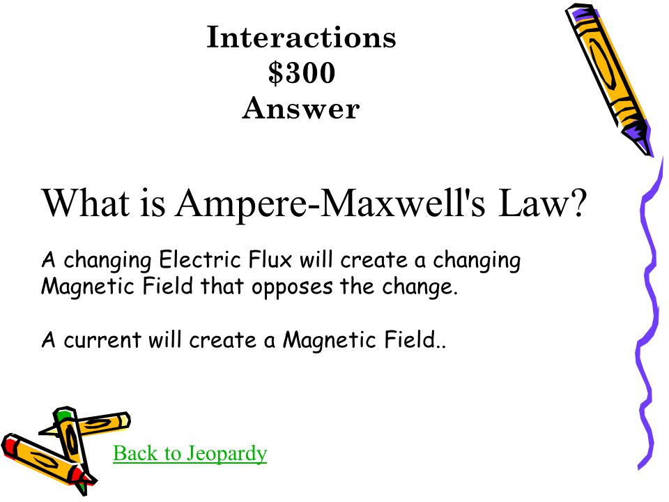 Interactions $300 Answer Back to Jeopardy What is Ampere-Maxwell s Law.