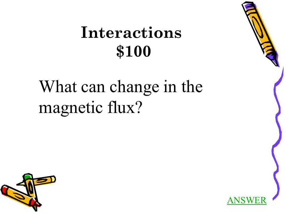 Interactions $100 ANSWER What can change in the magnetic flux