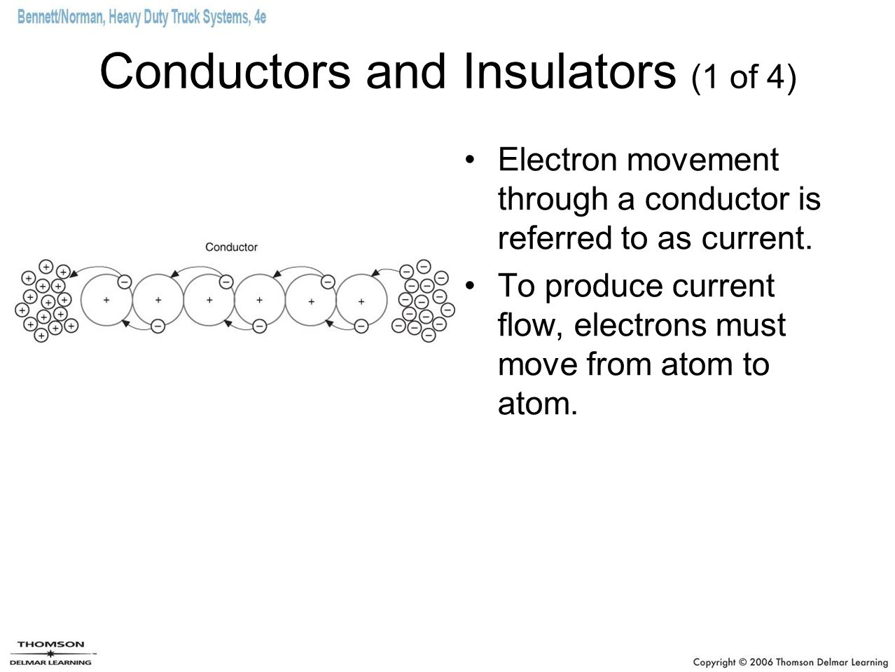 Conductors and Insulators (1 of 4) Electron movement through a conductor is referred to as current.