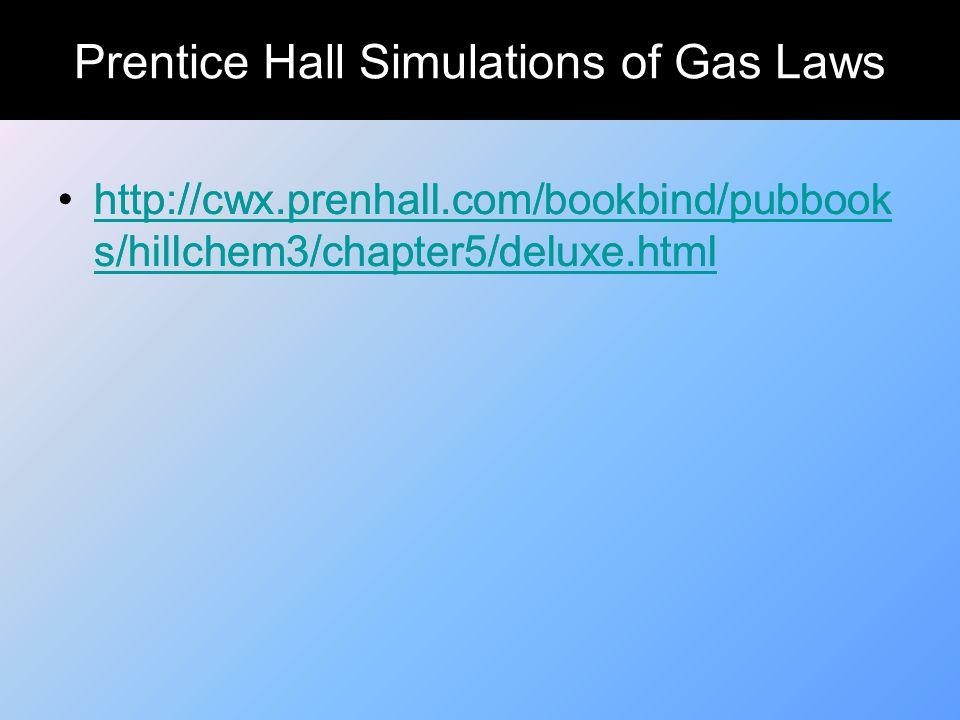 Prentice Hall Simulations of Gas Laws http://cwx.prenhall.com/bookbind/pubbook s/hillchem3/chapter5/deluxe.htmlhttp://cwx.prenhall.com/bookbind/pubboo