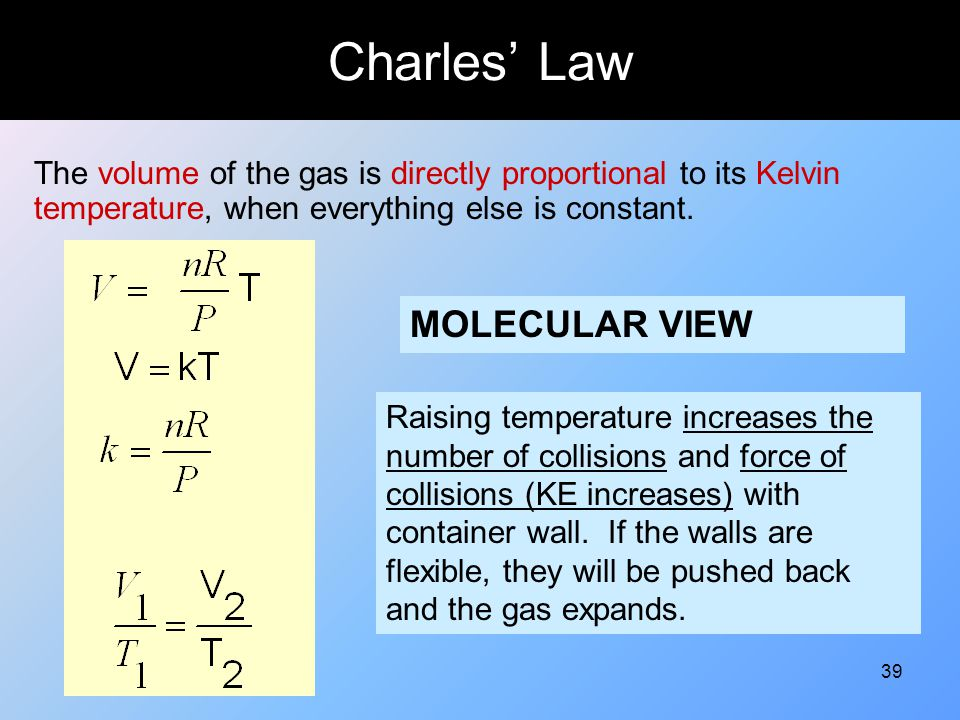 39 Charles' Law The volume of the gas is directly proportional to its Kelvin temperature, when everything else is constant. MOLECULAR VIEW Raising tem