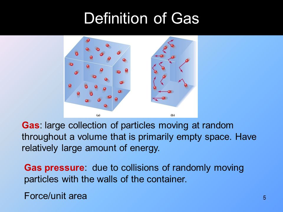 76 Properties of Gases ObservationHypothesis Gases are easy to expandGas molecules do not strongly attract each other Gases are compressibleParticles have small volumes compared to continer.