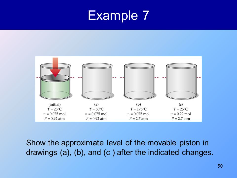 50 Example 7 Show the approximate level of the movable piston in drawings (a), (b), and (c ) after the indicated changes.