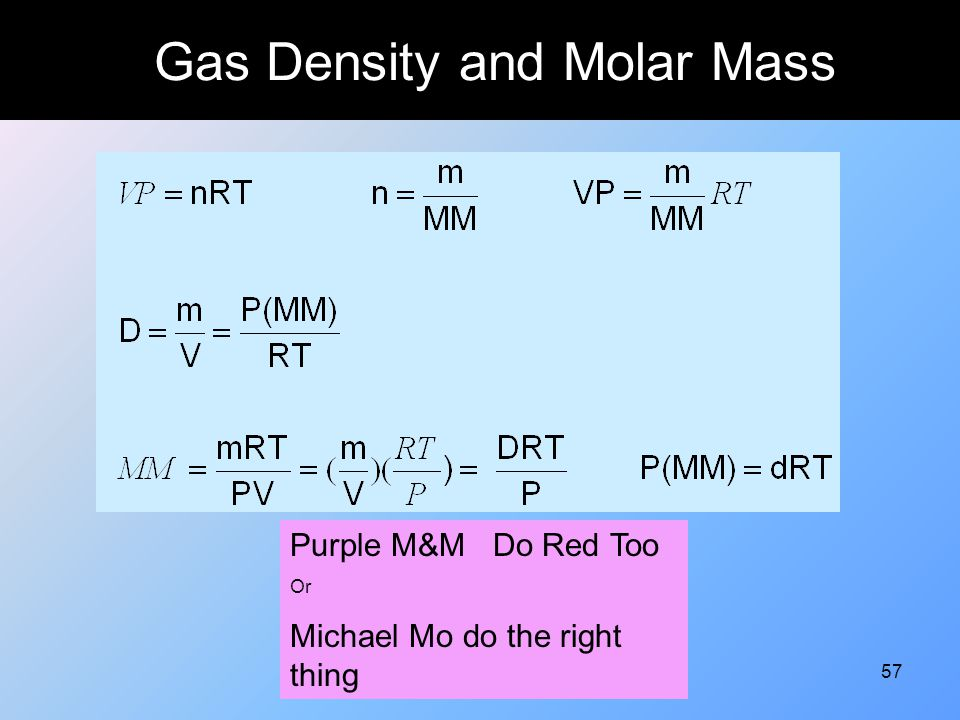 57 Gas Density and Molar Mass Purple M&M Do Red Too Or Michael Mo do the right thing