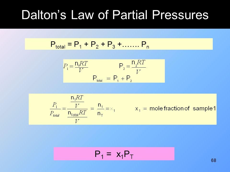68 Dalton's Law of Partial Pressures P total = P 1 + P 2 + P 3 +……. P n P 1 = x 1 P T