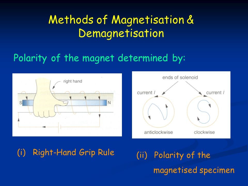 Methods of Magnetisation & Demagnetisation Polarity of the magnet determined by: (i) Right-Hand Grip Rule (ii) Polarity of the magnetised specimen