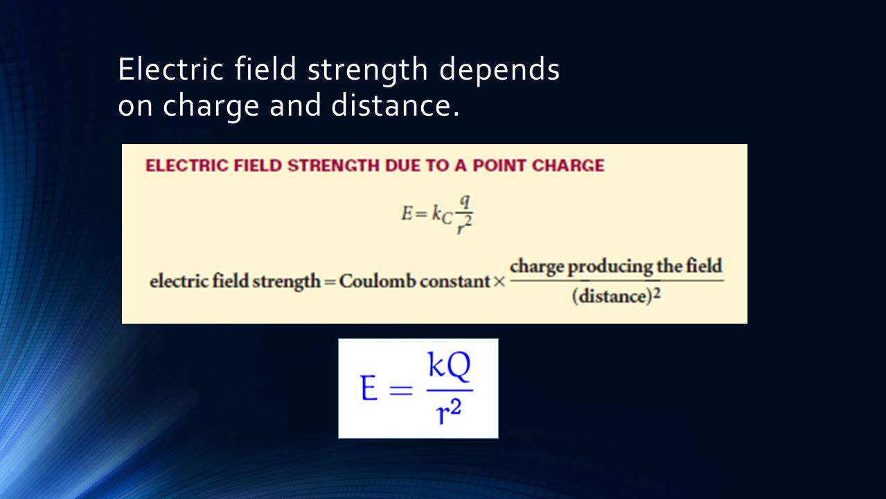Electric field strength depends on charge and distance.