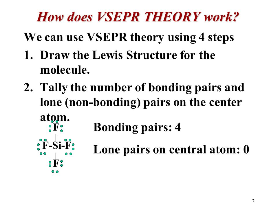 7 How does VSEPR THEORY work.
