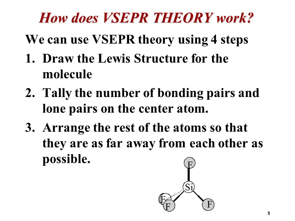 8 How does VSEPR THEORY work.