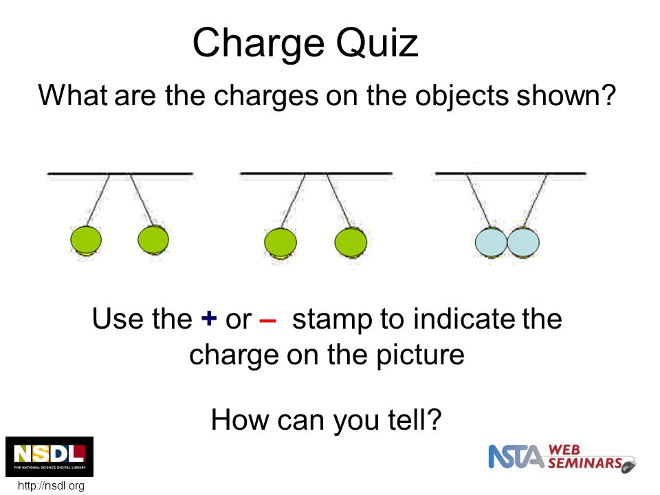 Charge Quiz What are the charges on the objects shown.