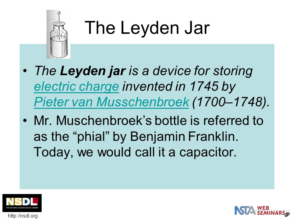The Leyden Jar The Leyden jar is a device for storing electric charge invented in 1745 by Pieter van Musschenbroek (1700–1748).