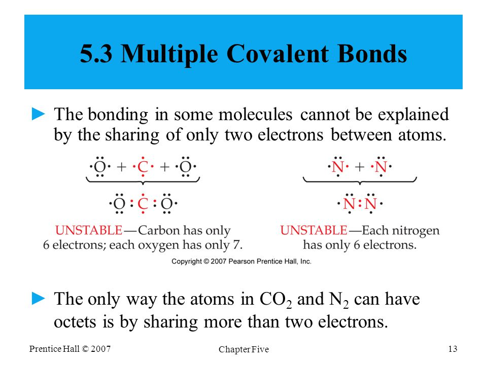 Prentice Hall © 2007 Chapter Five 13 5.3 Multiple Covalent Bonds ►The bonding in some molecules cannot be explained by the sharing of only two electrons between atoms.