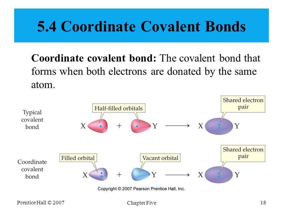 Prentice Hall © 2007 Chapter Five 18 5.4 Coordinate Covalent Bonds Coordinate covalent bond: The covalent bond that forms when both electrons are donated by the same atom.