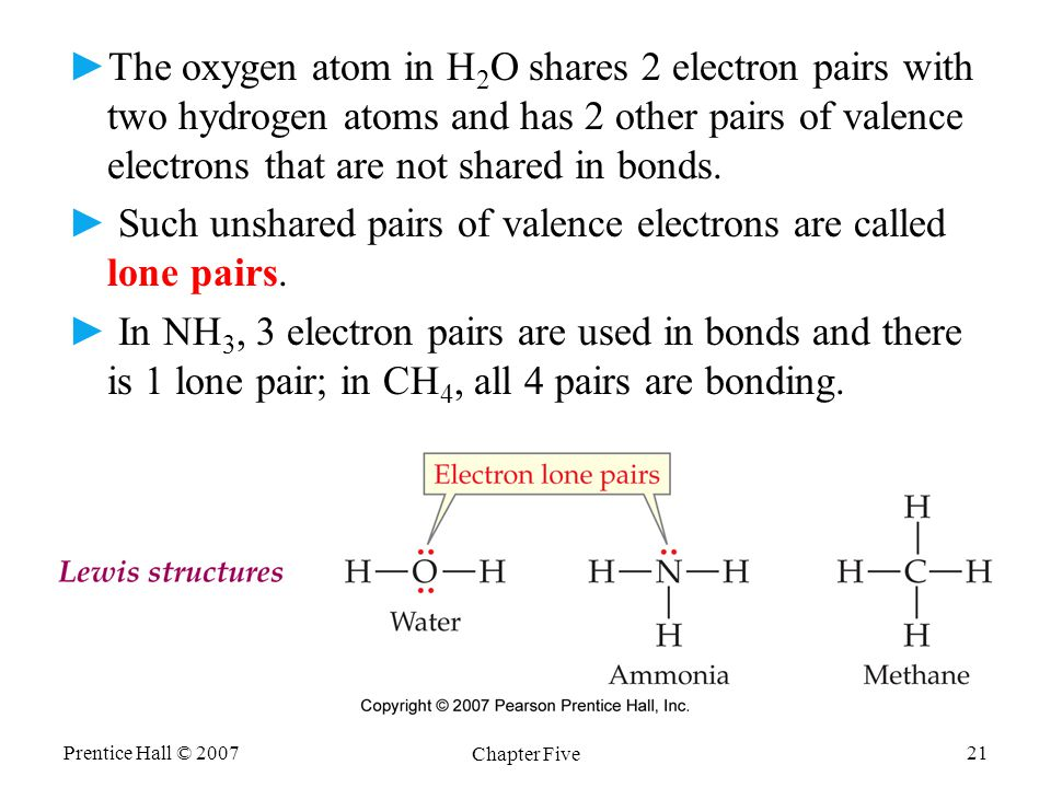 Prentice Hall © 2007 Chapter Five 21 ► ►The oxygen atom in H 2 O shares 2 electron pairs with two hydrogen atoms and has 2 other pairs of valence electrons that are not shared in bonds.