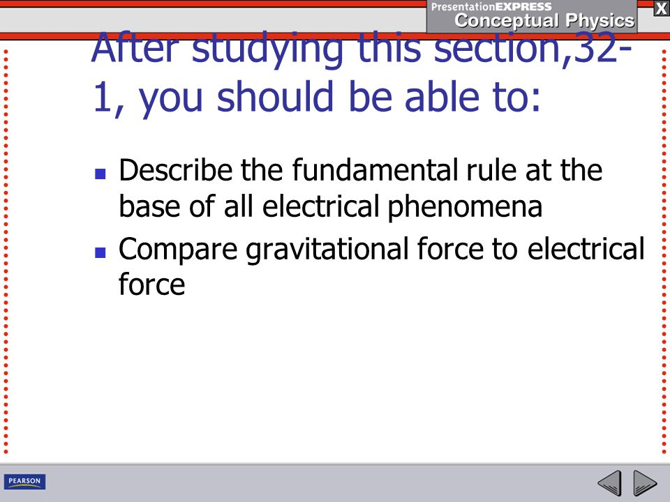 After studying this section,32- 1, you should be able to: Describe the fundamental rule at the base of all electrical phenomena Compare gravitational force to electrical force