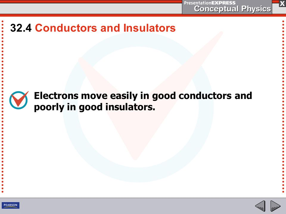 Electrons move easily in good conductors and poorly in good insulators.