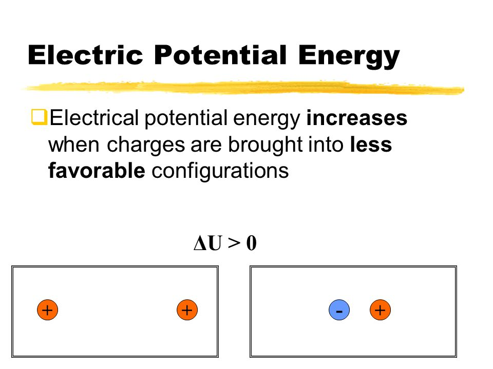 Electric Potential Energy  Electrical potential energy decreases when charges are brought into more favorable configurations.