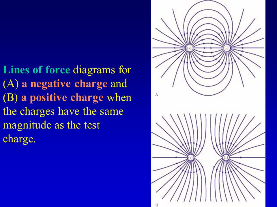 Lines of force diagrams for (A) a negative charge and (B) a positive charge when the charges have the same magnitude as the test charge.