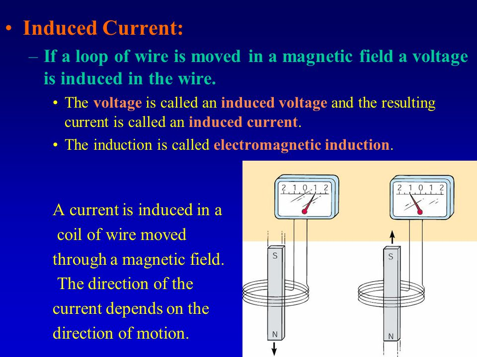 Induced Current: –If a loop of wire is moved in a magnetic field a voltage is induced in the wire.