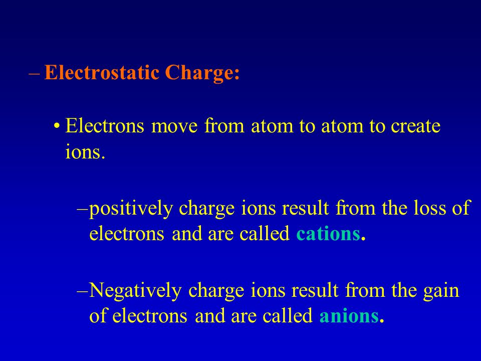 –Electrostatic Charge: Electrons move from atom to atom to create ions.