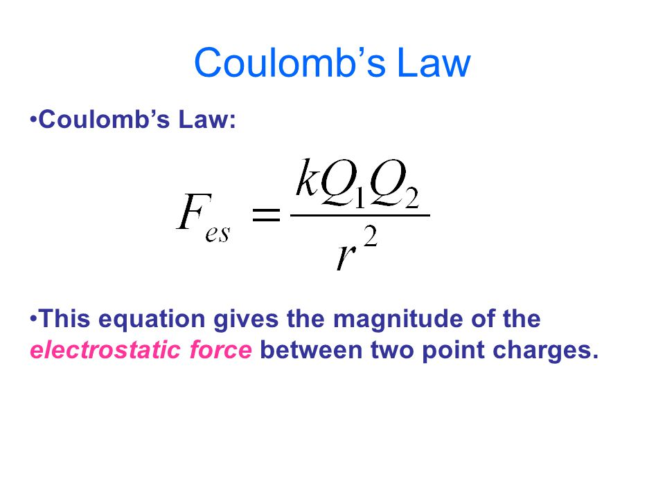 Coulomb's Law: This equation gives the magnitude of the electrostatic force between two point charges.