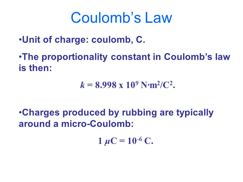 Unit of charge: coulomb, C.