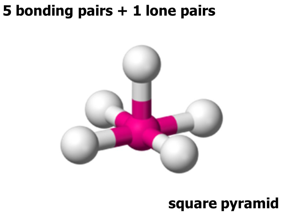 5 bonding pairs + 1 lone pairs square pyramid