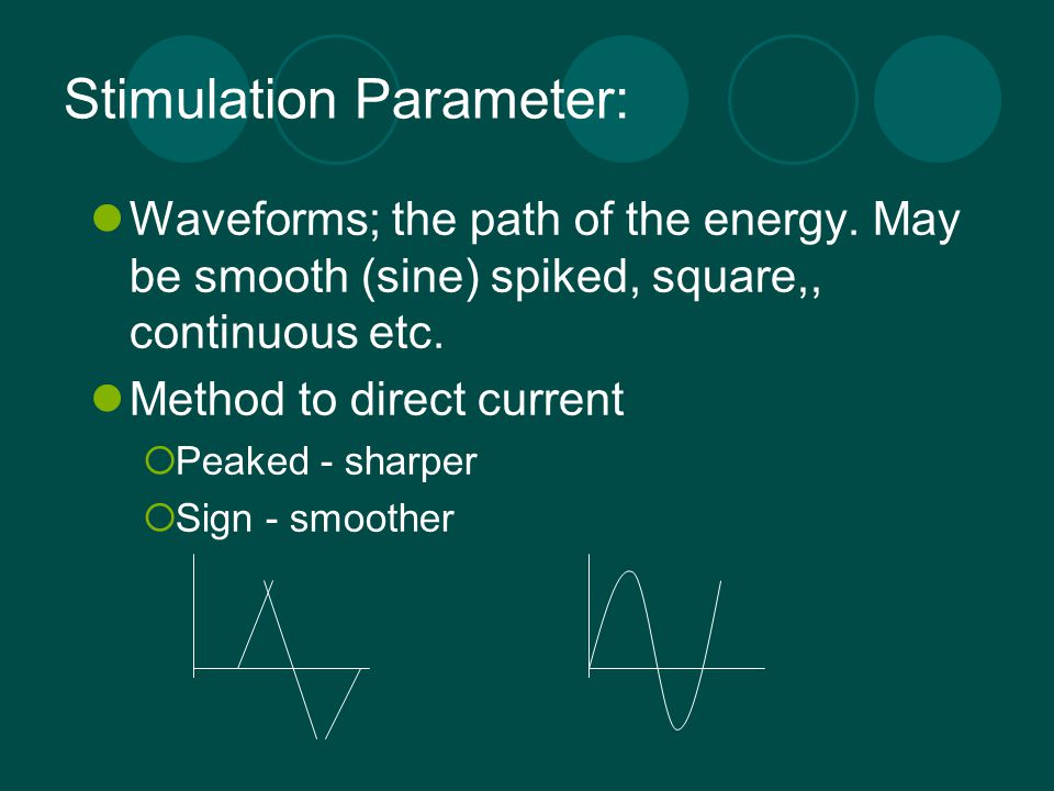 Stimulation Parameter: Waveforms; the path of the energy. May be smooth (sine) spiked, square,, continuous etc. Method to direct current  Peaked - sh