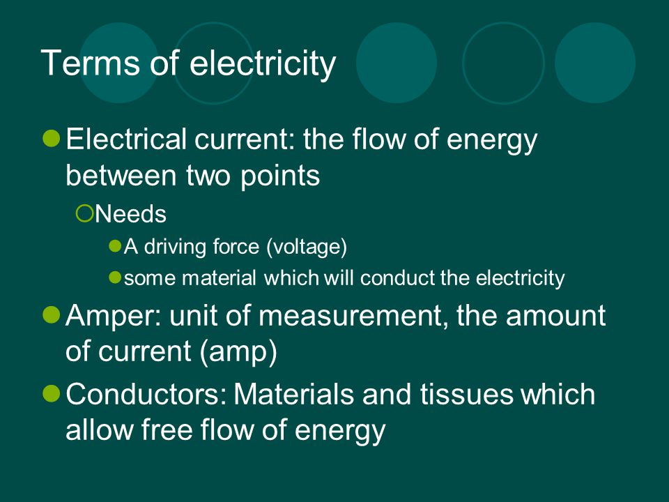 Fundamentals of Electricity Electricity is the force created by an imbalance in the number of electrons at two points  Negative pole an area of high electron concentration (Cathode)  Positive pole and area of low electron concentration (Anode)