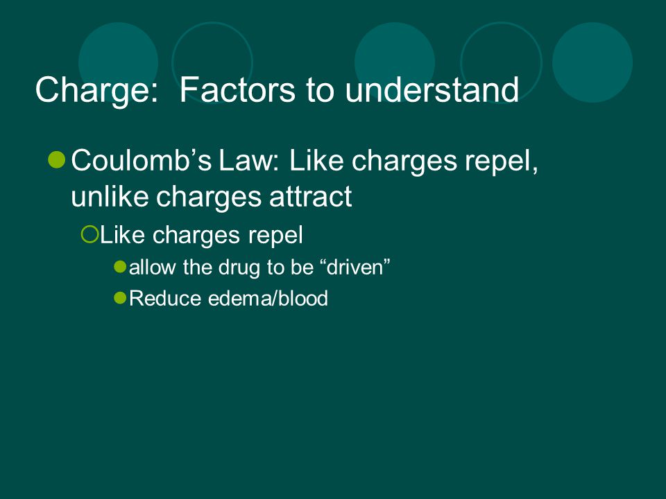 """Charge: Factors to understand Coulomb's Law: Like charges repel, unlike charges attract  Like charges repel allow the drug to be """"driven"""" Reduce edem"""
