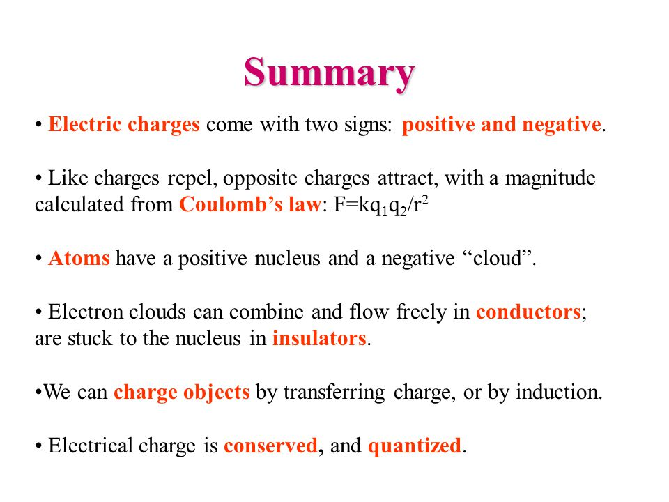 Summary Electric charges come with two signs: positive and negative. Like charges repel, opposite charges attract, with a magnitude calculated from Co