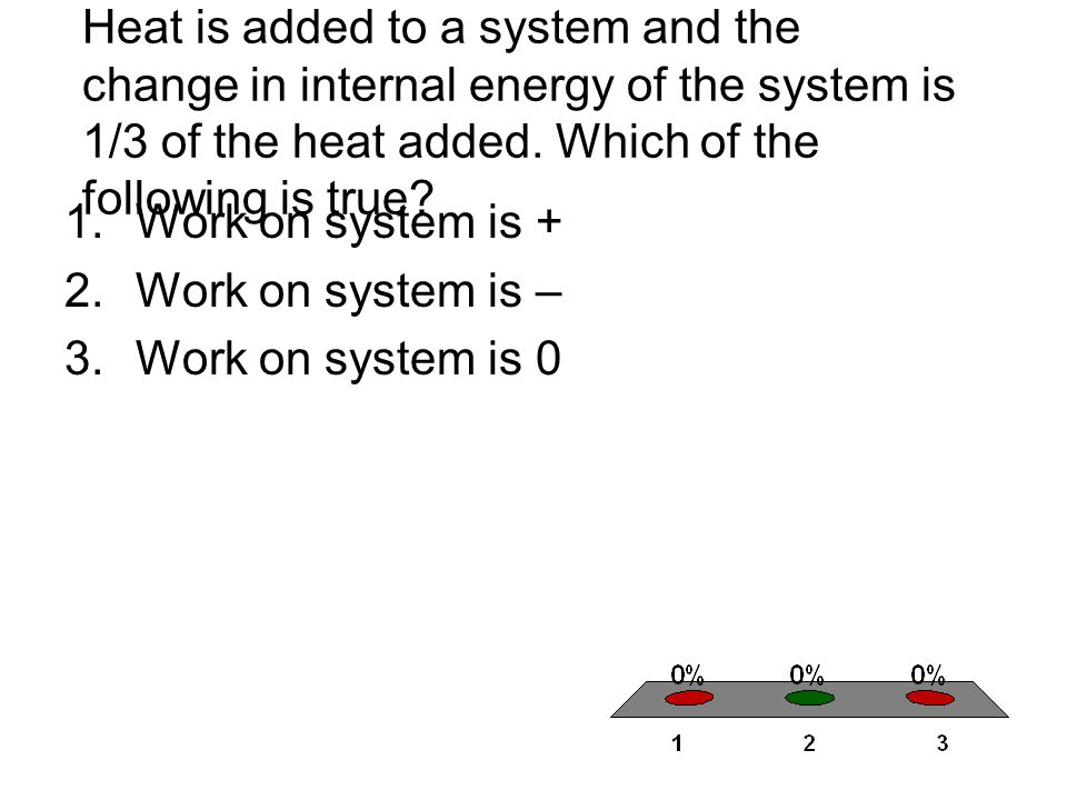 Heat is added to a system and the change in internal energy of the system is 1/3 of the heat added.
