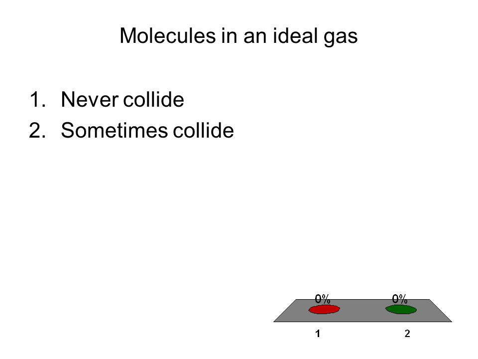 Molecules in an ideal gas 1.Never collide 2.Sometimes collide