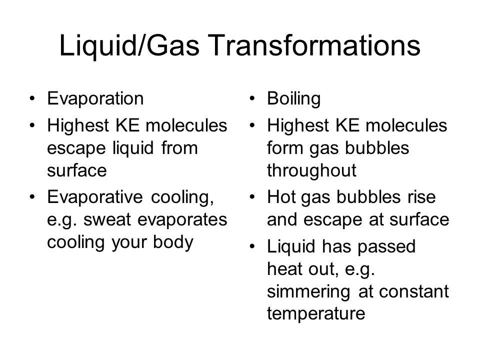 Liquid/Gas Transformations Evaporation Highest KE molecules escape liquid from surface Evaporative cooling, e.g. sweat evaporates cooling your body Bo