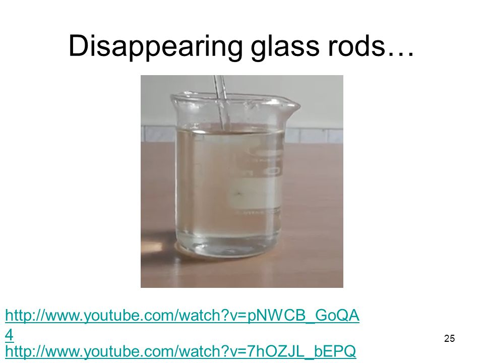 Disappearing glass rods… 25 http://www.youtube.com/watch?v=7hOZJL_bEPQ http://www.youtube.com/watch?v=pNWCB_GoQA 4