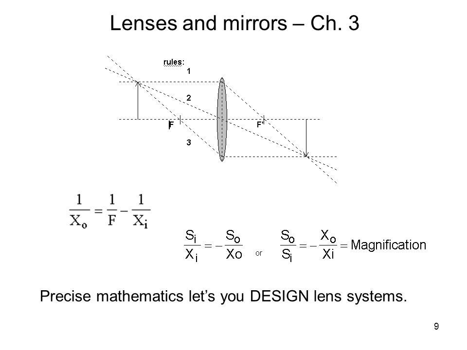 9 Precise mathematics let's you DESIGN lens systems.