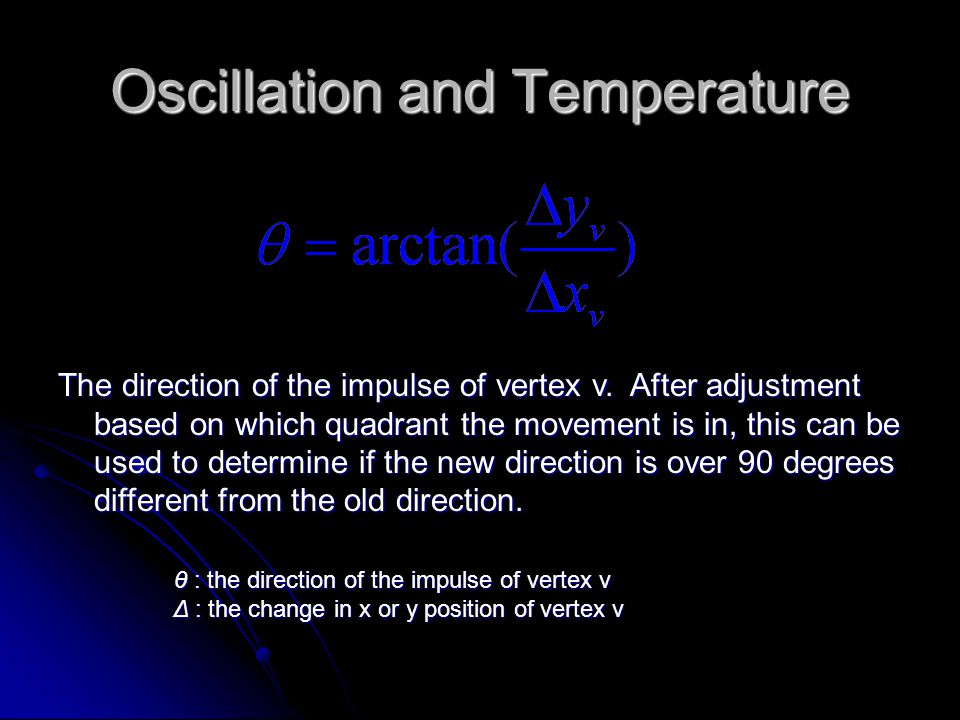 Oscillation and Temperature The direction of the impulse of vertex v.