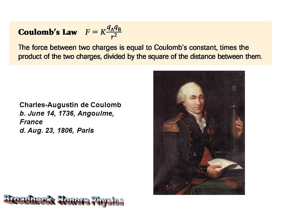 Charles-Augustin de Coulomb b. June 14, 1736, Angoulme, France d. Aug. 23, 1806, Paris